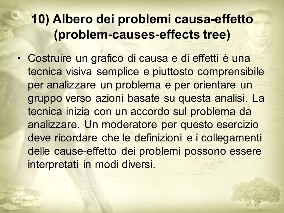 10) Albero dei problemi causa-effetto (problem-causes-effects tree)