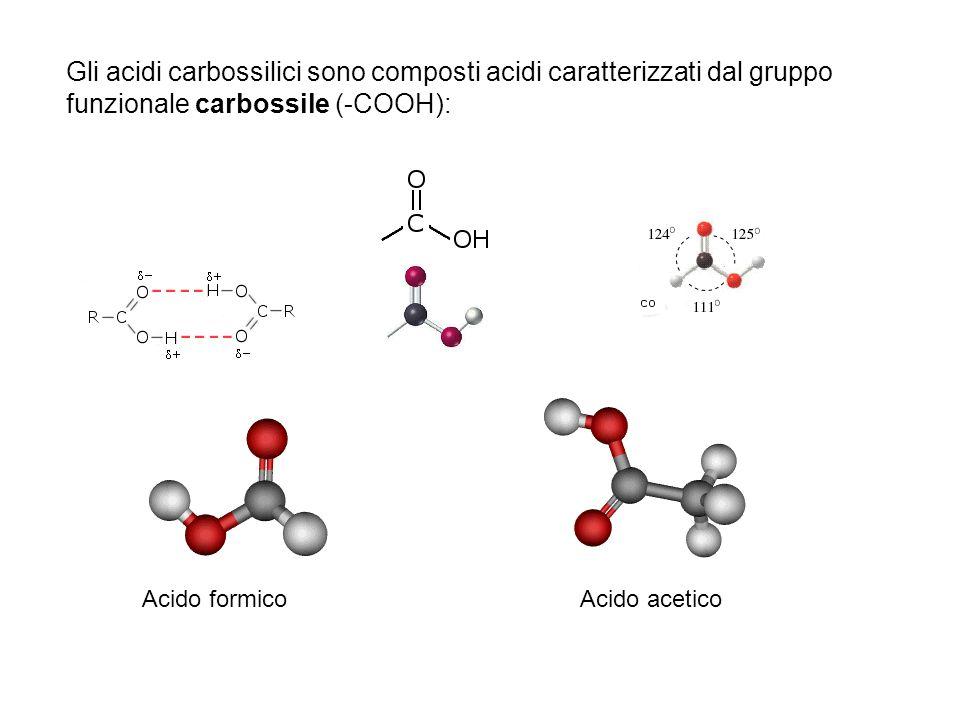 Gli acidi carbossilici sono composti acidi caratterizzati dal gruppo funzionale carbossile (-COOH):