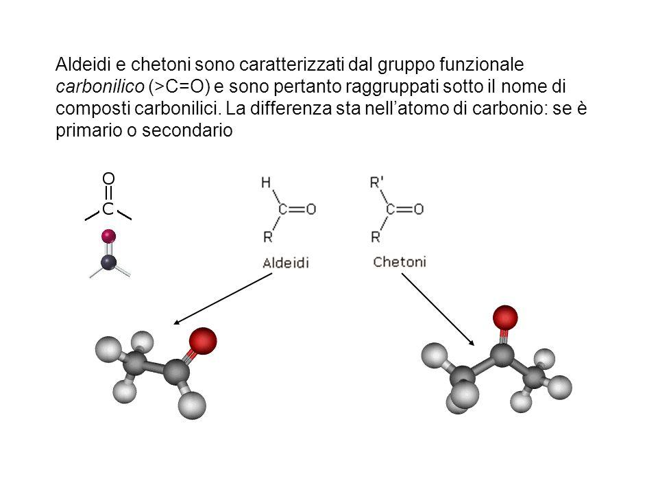 Aldeidi e chetoni sono caratterizzati dal gruppo funzionale carbonilico (>C=O) e sono pertanto raggruppati sotto il nome di composti carbonilici.