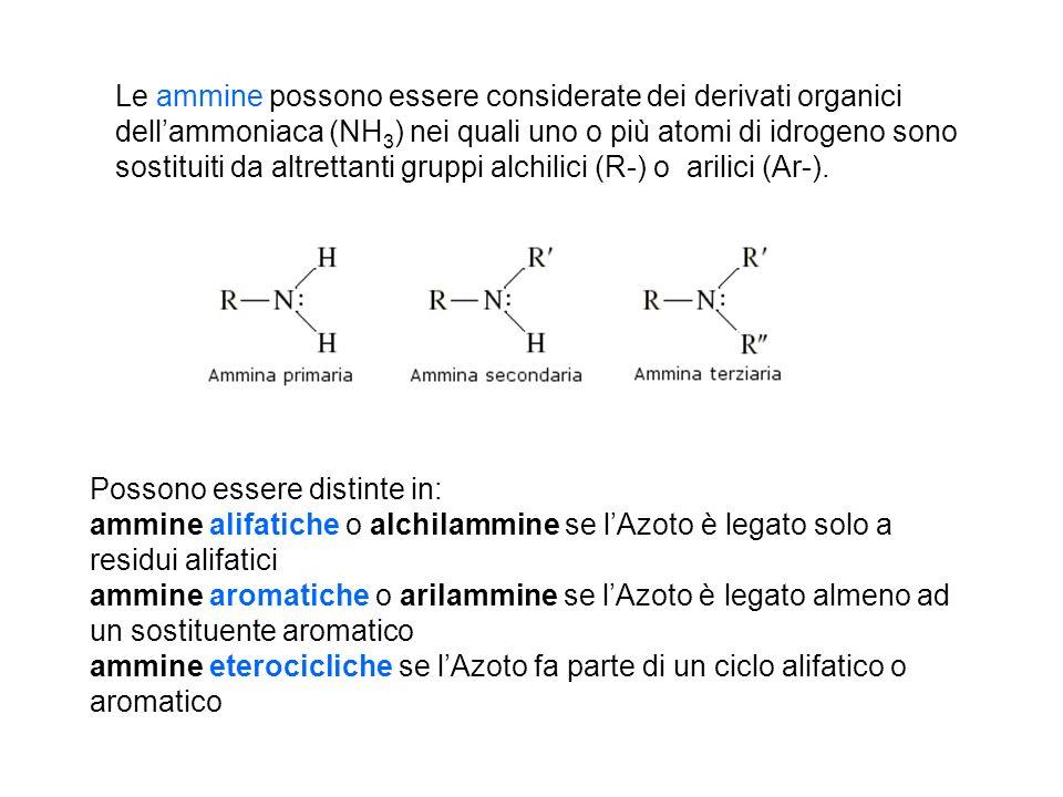 Le ammine possono essere considerate dei derivati organici dell'ammoniaca (NH3) nei quali uno o più atomi di idrogeno sono sostituiti da altrettanti gruppi alchilici (R-) o arilici (Ar-).