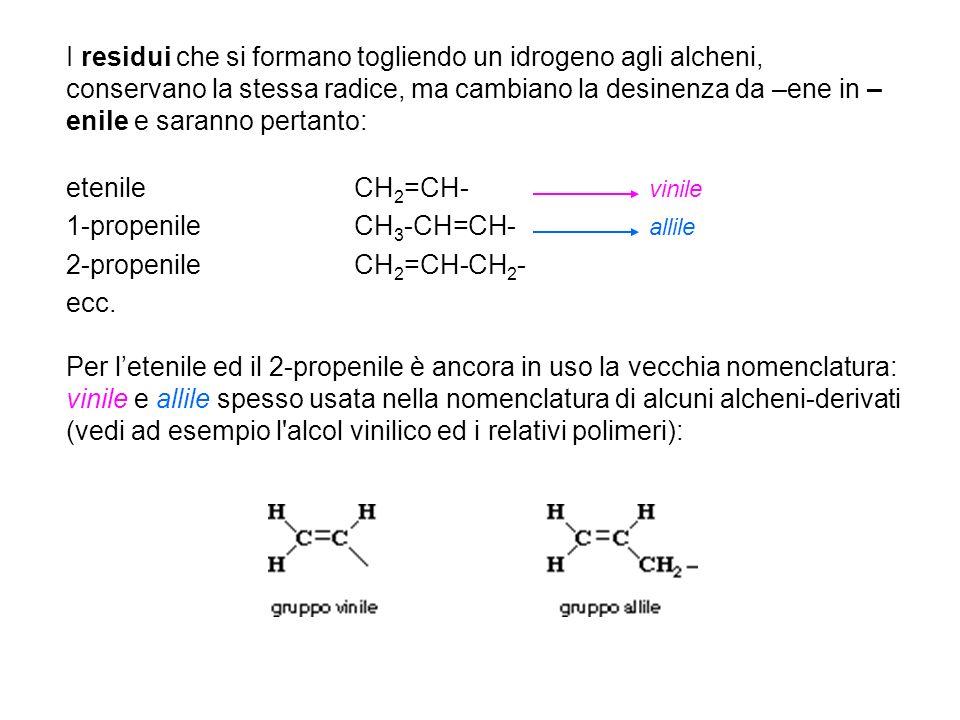 I residui che si formano togliendo un idrogeno agli alcheni, conservano la stessa radice, ma cambiano la desinenza da –ene in –enile e saranno pertanto: