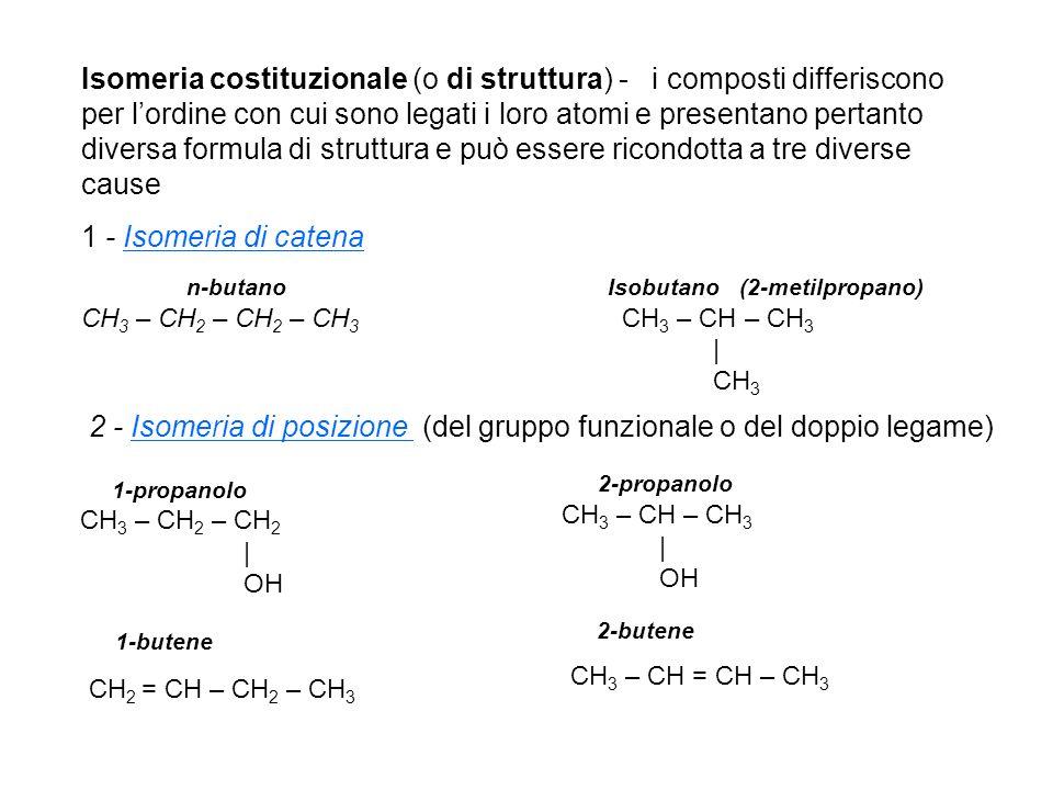 2 - Isomeria di posizione (del gruppo funzionale o del doppio legame)