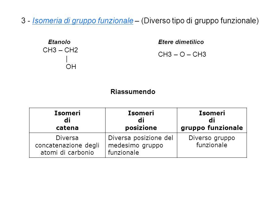 3 - Isomeria di gruppo funzionale – (Diverso tipo di gruppo funzionale)