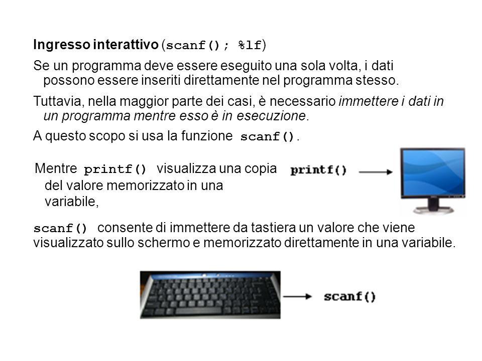 Ingresso interattivo (scanf(); %lf)