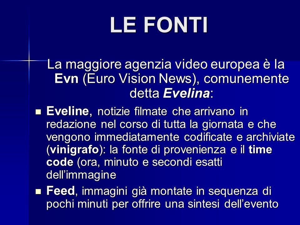 LE FONTI La maggiore agenzia video europea è la Evn (Euro Vision News), comunemente detta Evelina:
