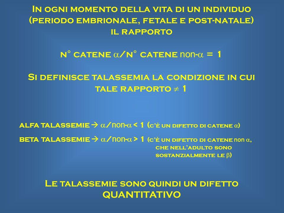 n° catene a/n° catene non-a = 1