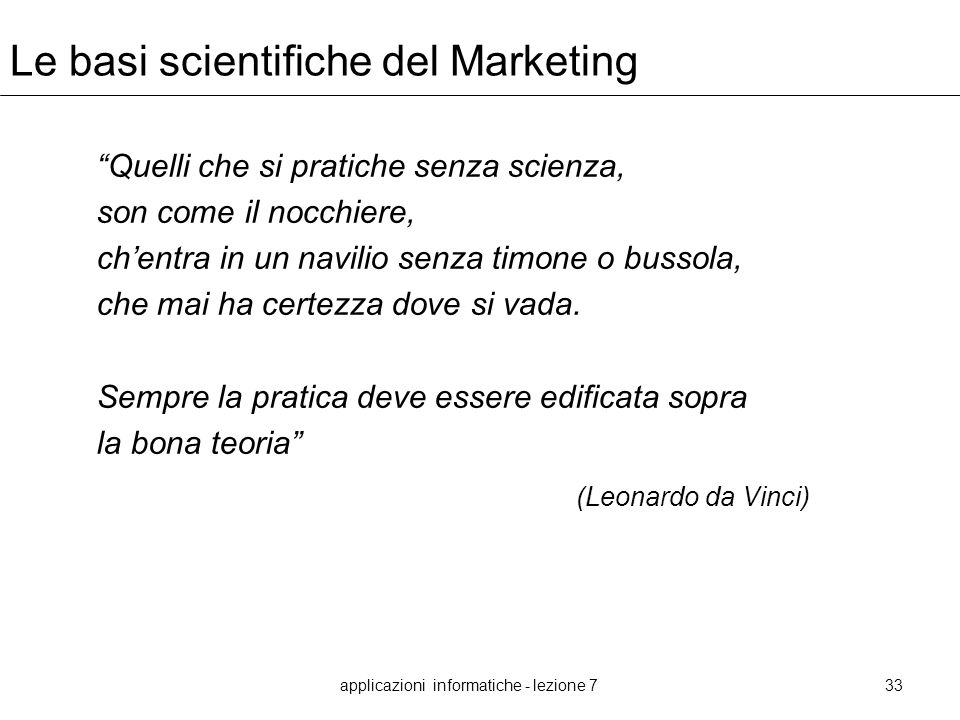 Le basi scientifiche del Marketing
