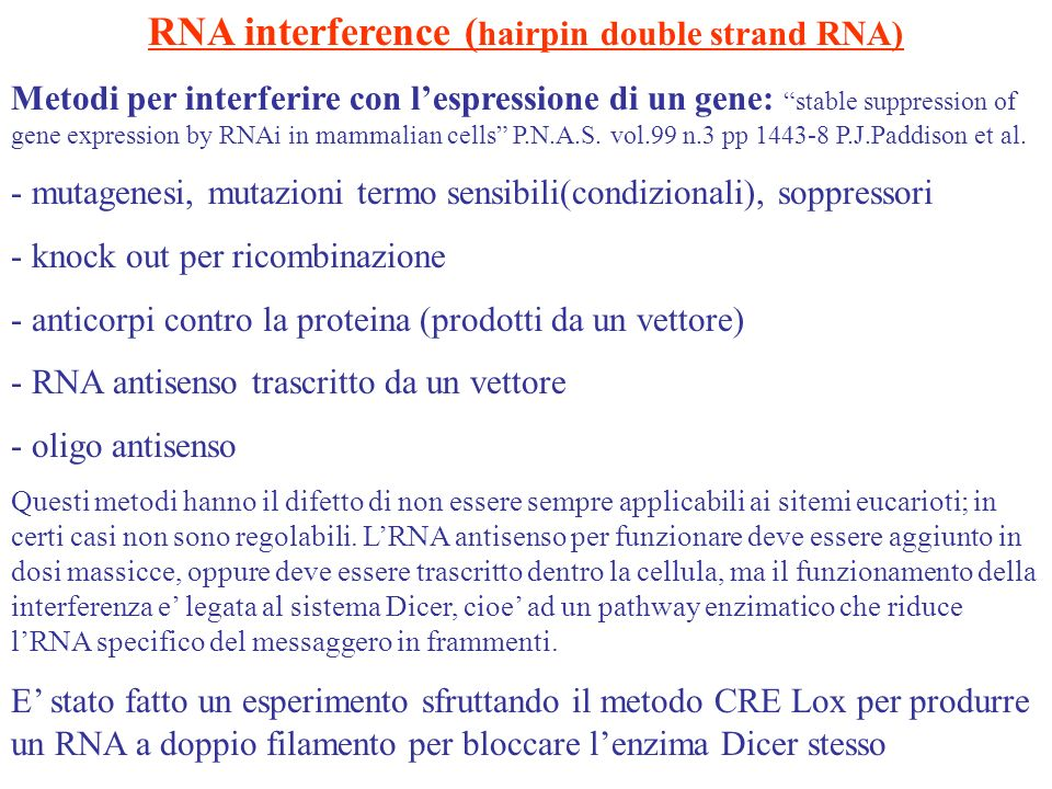 RNA interference (hairpin double strand RNA)