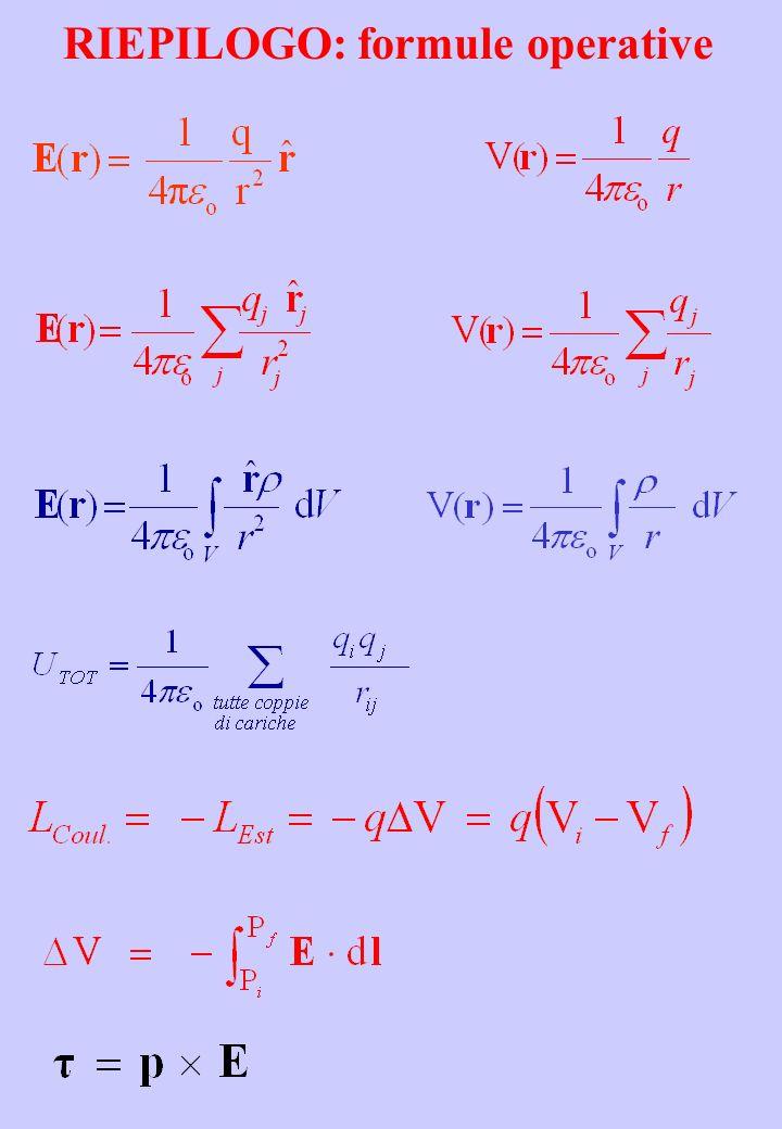 RIEPILOGO: formule operative