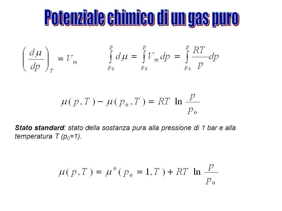 Potenziale chimico di un gas puro