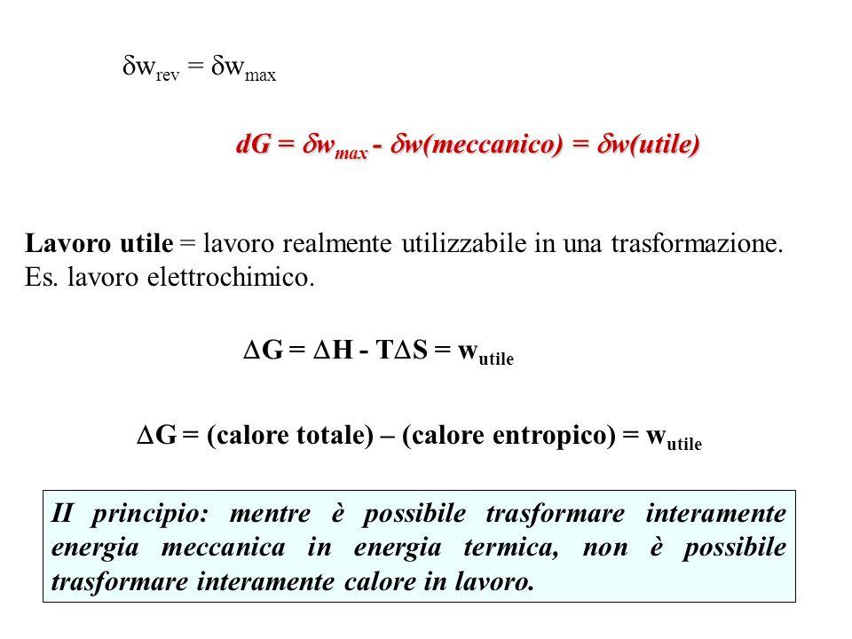 wrev = wmax dG = wmax - w(meccanico) = w(utile) Lavoro utile = lavoro realmente utilizzabile in una trasformazione.
