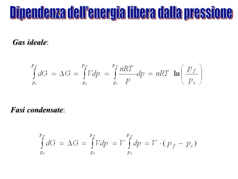 Dipendenza dell energia libera dalla pressione