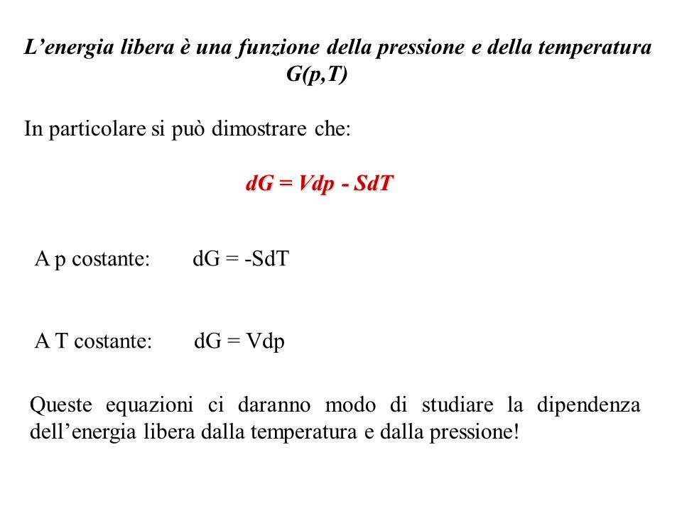L'energia libera è una funzione della pressione e della temperatura