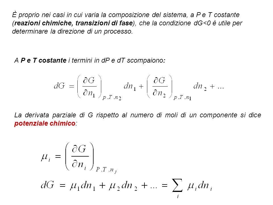 È proprio nei casi in cui varia la composizione del sistema, a P e T costante (reazioni chimiche, transizioni di fase), che la condizione dG<0 è utile per determinare la direzione di un processo.