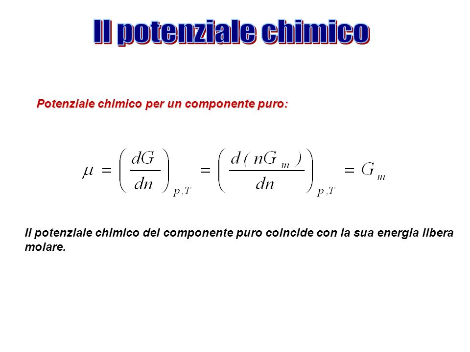 Il potenziale chimico Potenziale chimico per un componente puro: