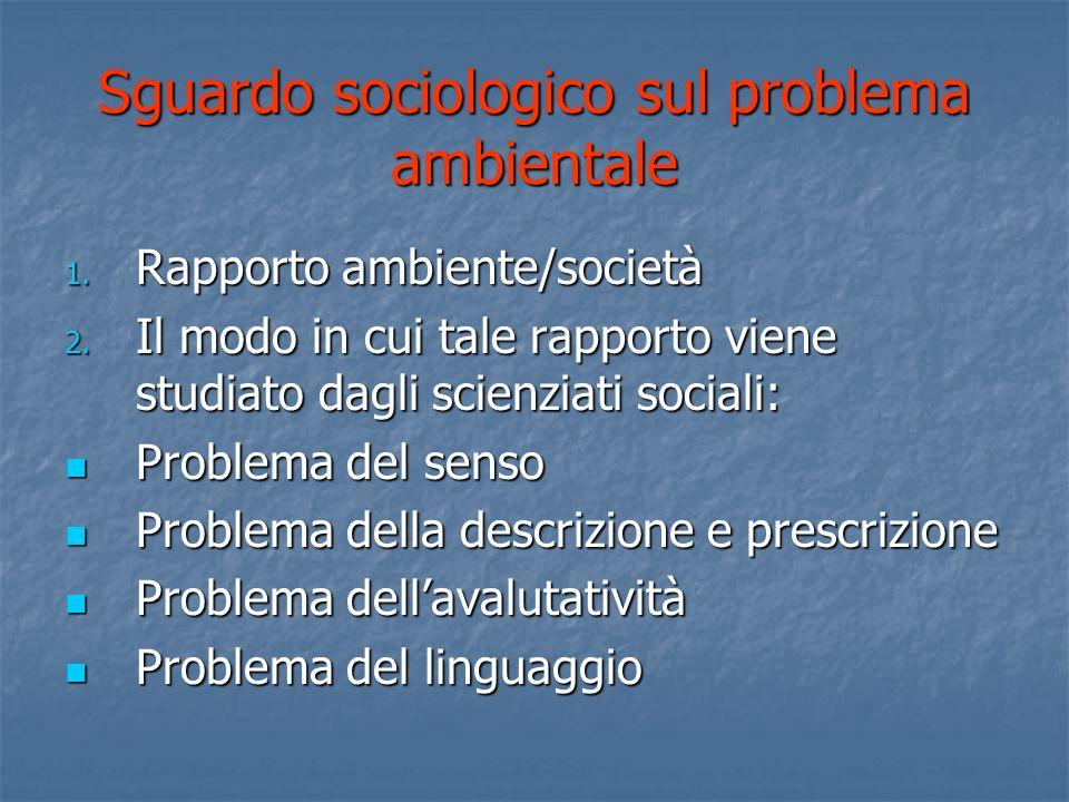 Sguardo sociologico sul problema ambientale