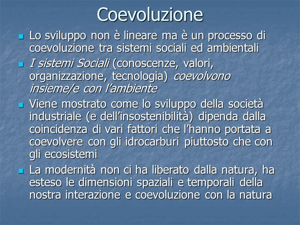 Coevoluzione Lo sviluppo non è lineare ma è un processo di coevoluzione tra sistemi sociali ed ambientali.