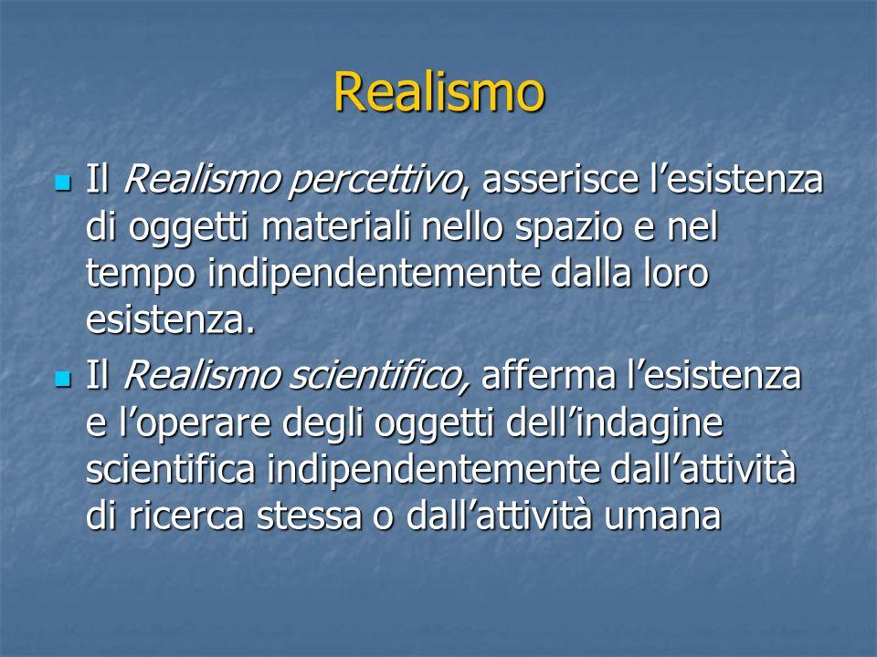 Realismo Il Realismo percettivo, asserisce l'esistenza di oggetti materiali nello spazio e nel tempo indipendentemente dalla loro esistenza.