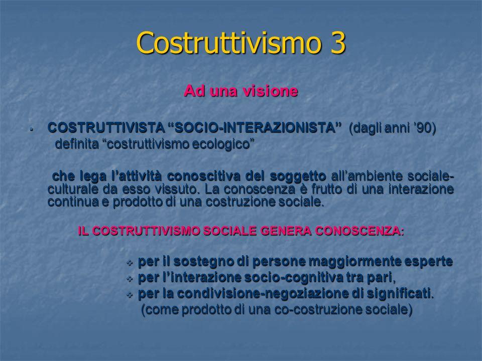 IL COSTRUTTIVISMO SOCIALE GENERA CONOSCENZA: