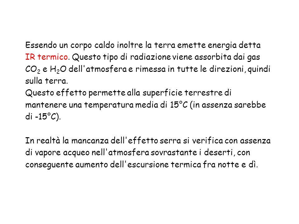 Essendo un corpo caldo inoltre la terra emette energia detta IR termico. Questo tipo di radiazione viene assorbita dai gas CO2 e H2O dell atmosfera e rimessa in tutte le direzioni, quindi sulla terra.