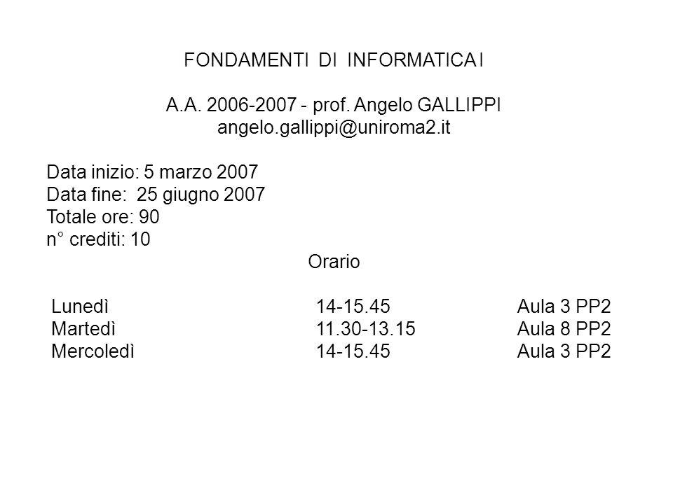 FONDAMENTI DI INFORMATICA I A.A. 2006-2007 - prof. Angelo GALLIPPI