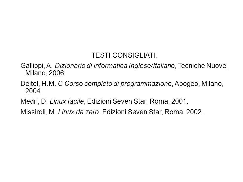 TESTI CONSIGLIATI: Gallippi, A. Dizionario di informatica Inglese/Italiano, Tecniche Nuove, Milano, 2006.
