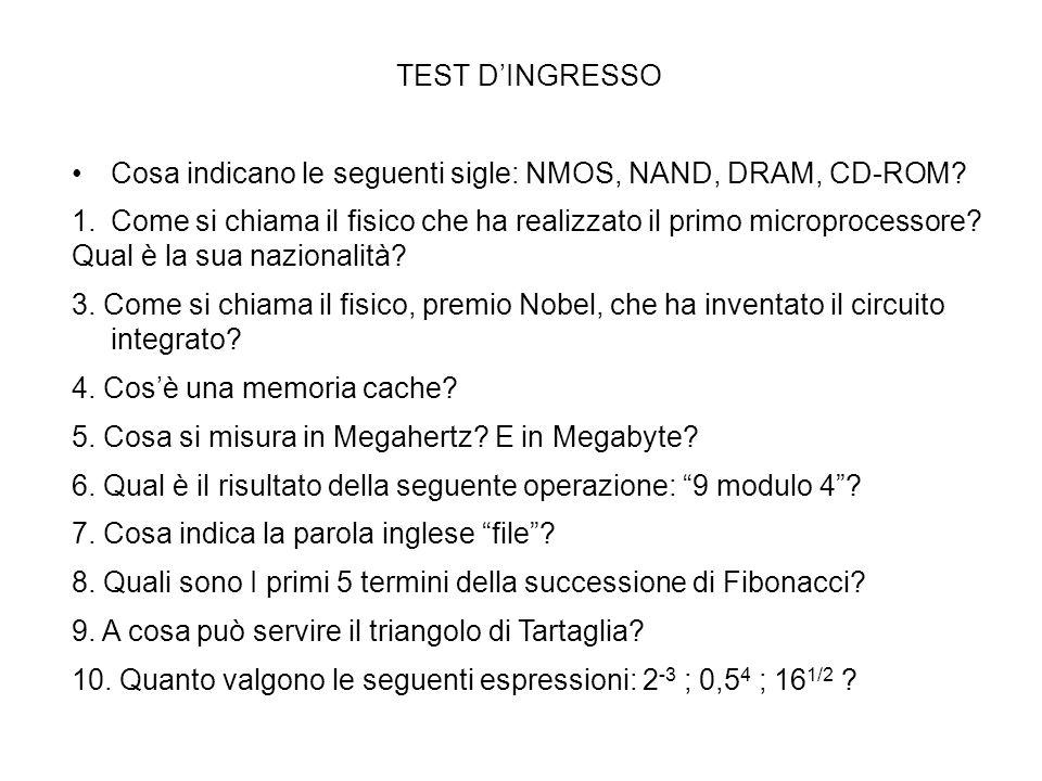 TEST D'INGRESSO Cosa indicano le seguenti sigle: NMOS, NAND, DRAM, CD-ROM Come si chiama il fisico che ha realizzato il primo microprocessore