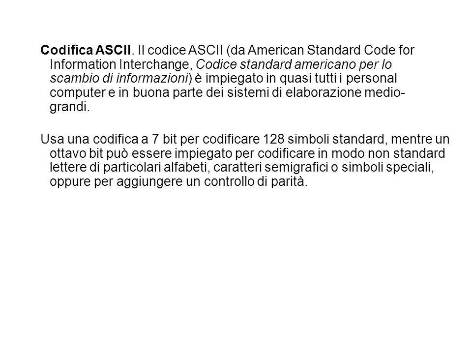 Codifica ASCII. Il codice ASCII (da American Standard Code for Information Interchange, Codice standard americano per lo scambio di informazioni) è impiegato in quasi tutti i personal computer e in buona parte dei sistemi di elaborazione medio-grandi.