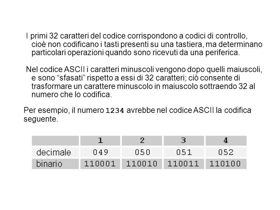 I primi 32 caratteri del codice corrispondono a codici di controllo, cioè non codificano i tasti presenti su una tastiera, ma determinano particolari operazioni quando sono ricevuti da una periferica.
