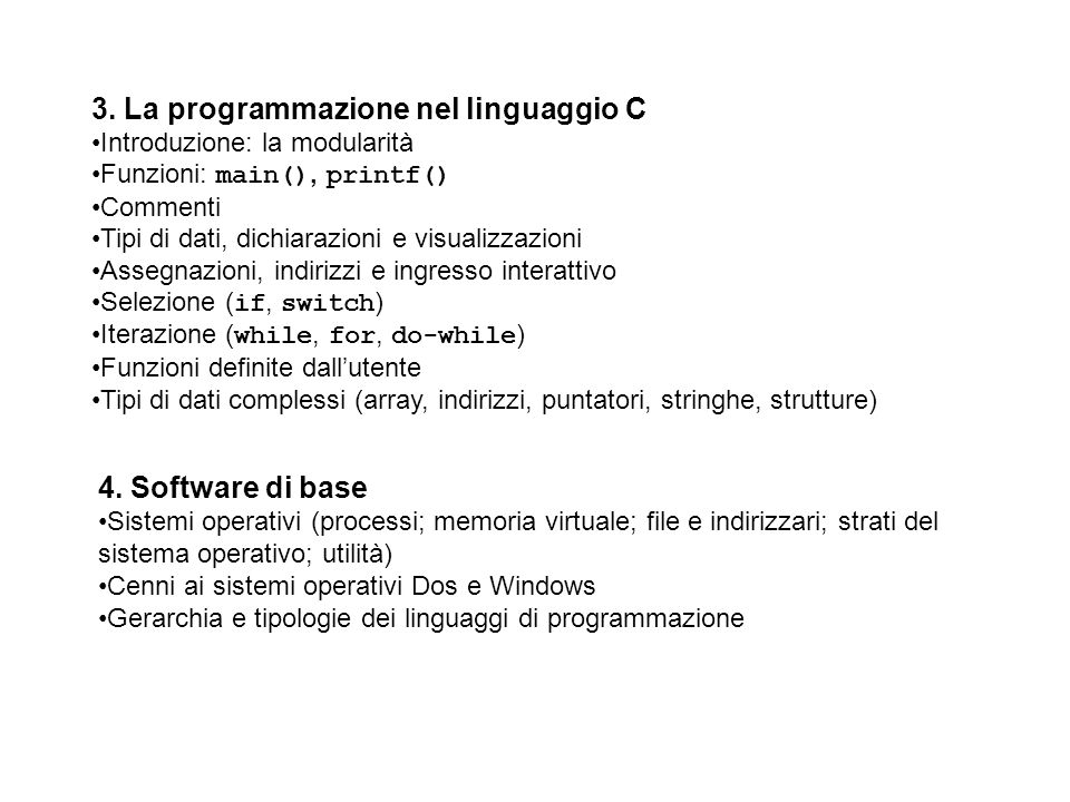 3. La programmazione nel linguaggio C