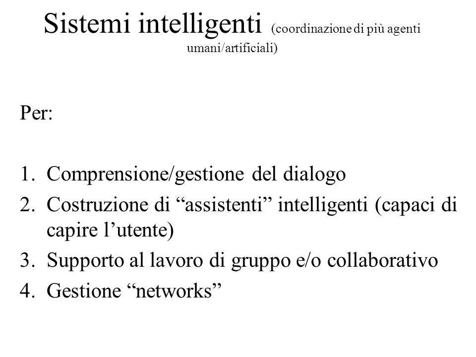 Sistemi intelligenti (coordinazione di più agenti umani/artificiali)