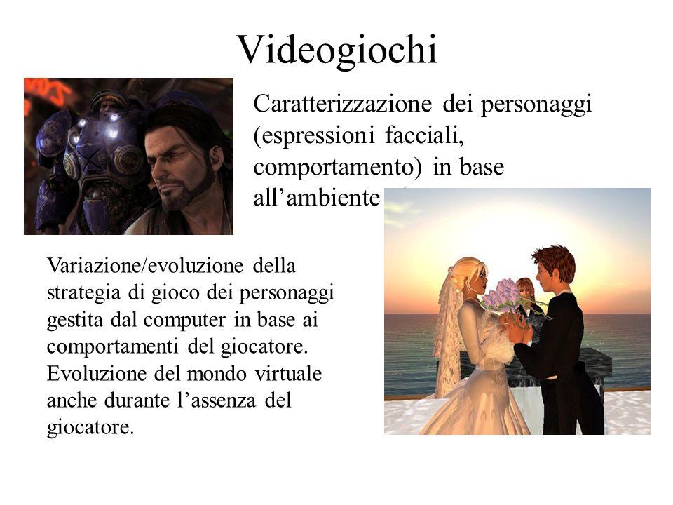 Videogiochi Caratterizzazione dei personaggi (espressioni facciali, comportamento) in base all'ambiente circostante.