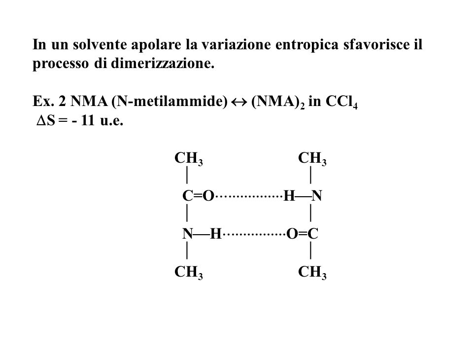 In un solvente apolare la variazione entropica sfavorisce il processo di dimerizzazione.