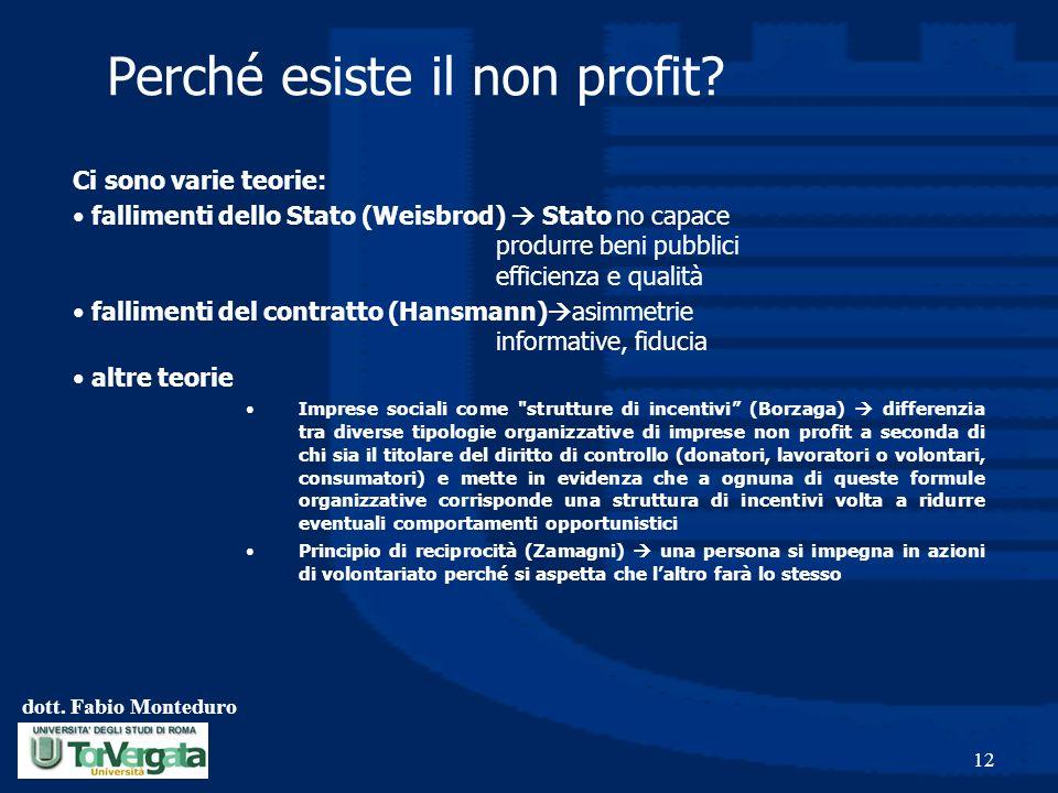 Perché esiste il non profit