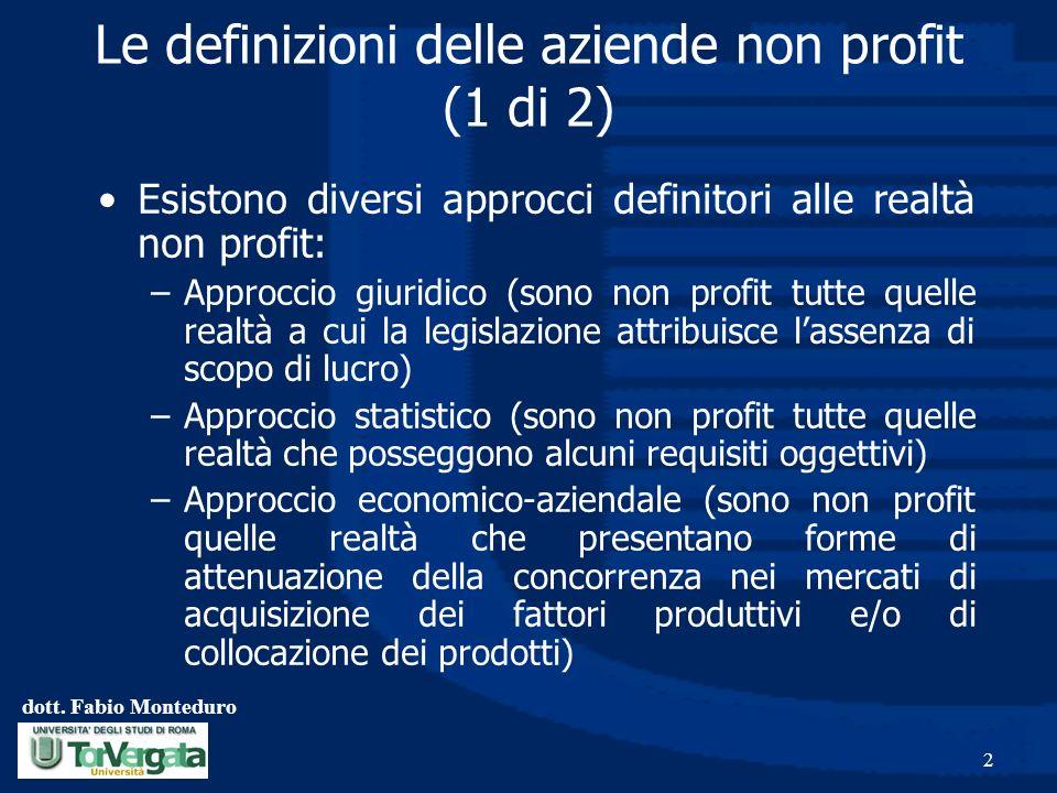 Le definizioni delle aziende non profit (1 di 2)
