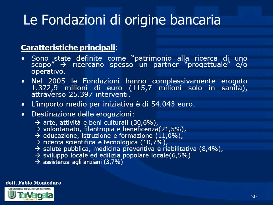 Le Fondazioni di origine bancaria