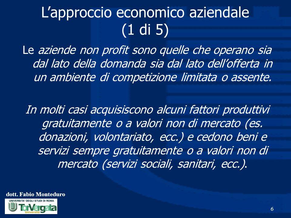 L'approccio economico aziendale (1 di 5)
