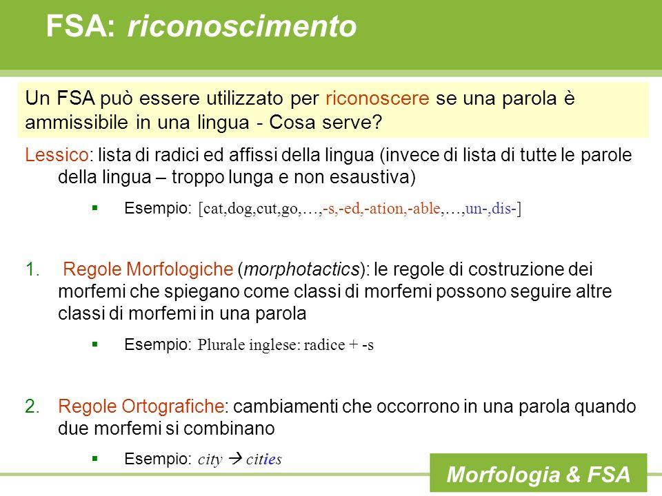FSA: riconoscimento Morfologia & FSA