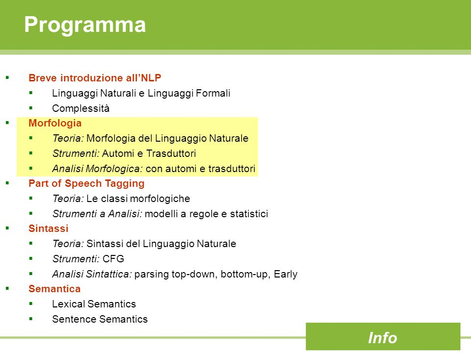 Programma Info Breve introduzione all'NLP