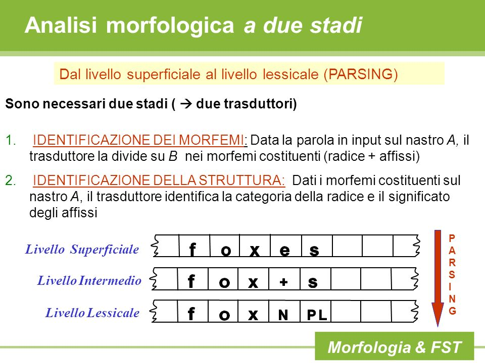 Analisi morfologica a due stadi