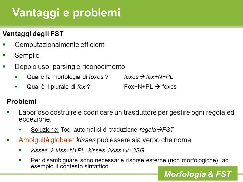Vantaggi e problemi Morfologia & FST Vantaggi degli FST