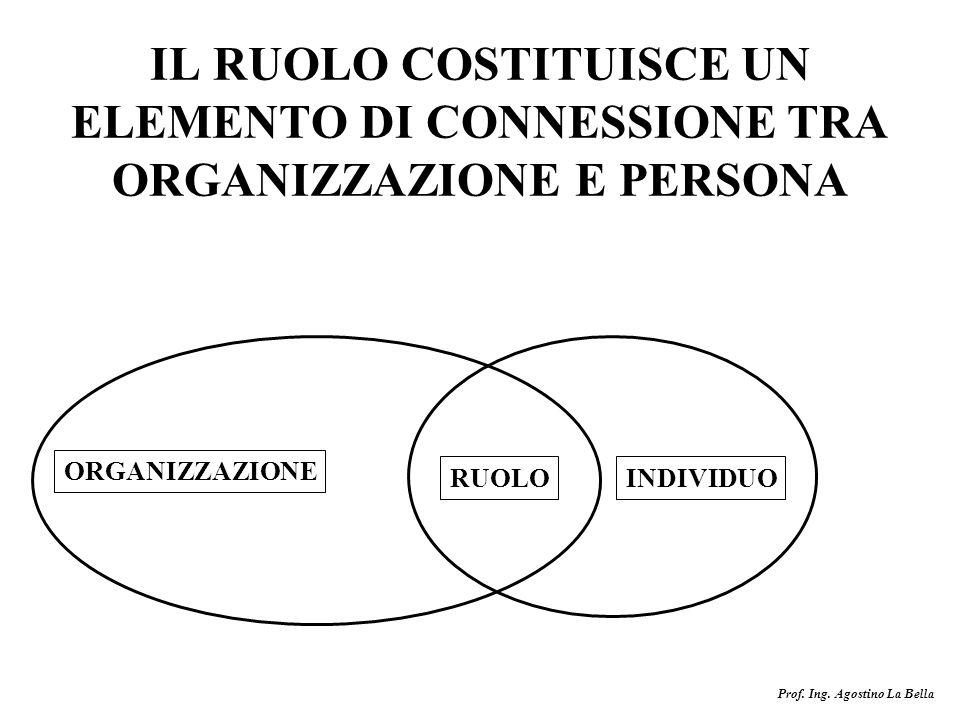 IL RUOLO COSTITUISCE UN ELEMENTO DI CONNESSIONE TRA ORGANIZZAZIONE E PERSONA