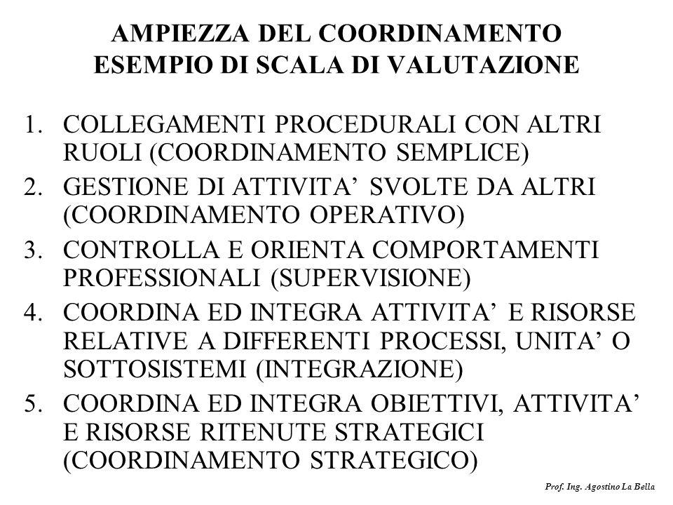 AMPIEZZA DEL COORDINAMENTO ESEMPIO DI SCALA DI VALUTAZIONE