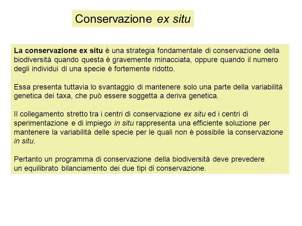Conservazione ex situ La conservazione ex situ è una strategia fondamentale di conservazione della.