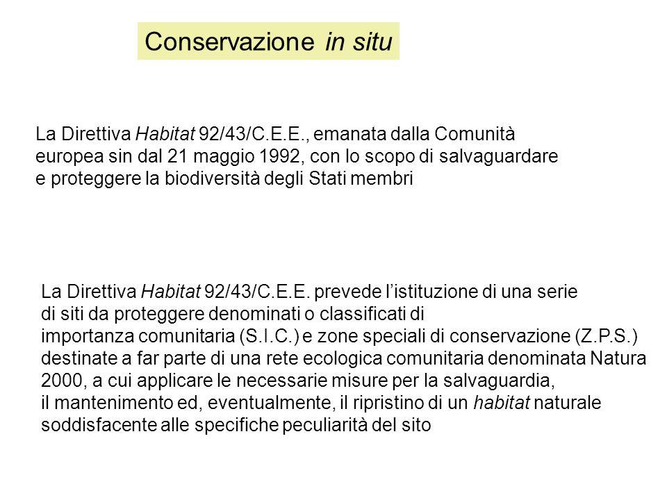 Conservazione in situ La Direttiva Habitat 92/43/C.E.E., emanata dalla Comunità. europea sin dal 21 maggio 1992, con lo scopo di salvaguardare.