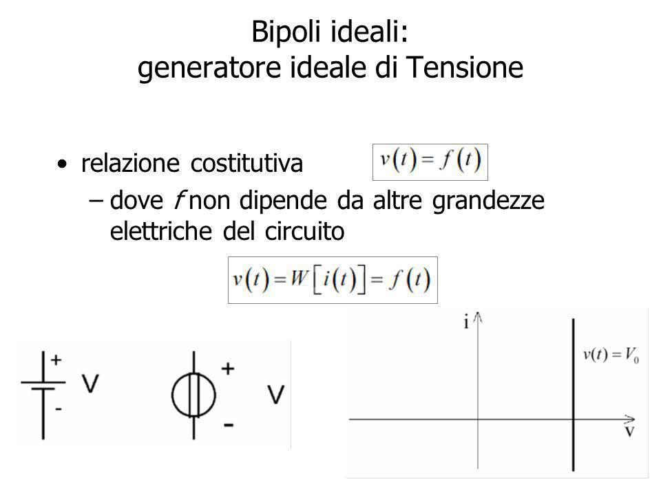 Bipoli ideali: generatore ideale di Tensione