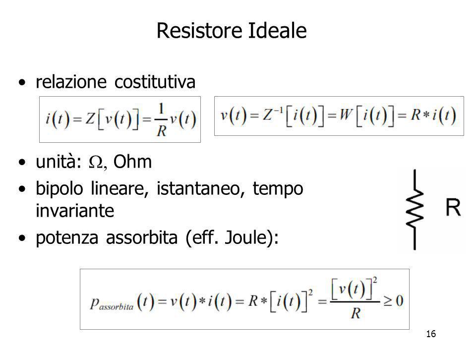 Resistore Ideale relazione costitutiva unità:  Ohm
