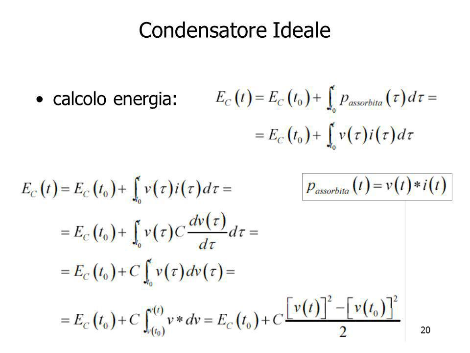 Condensatore Ideale calcolo energia:
