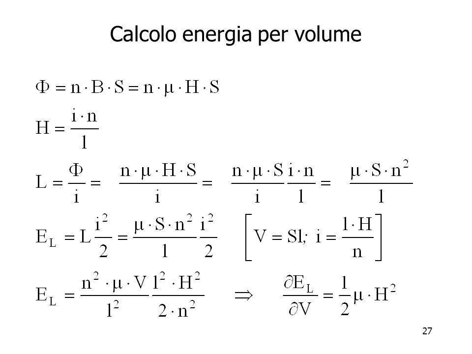 Calcolo energia per volume