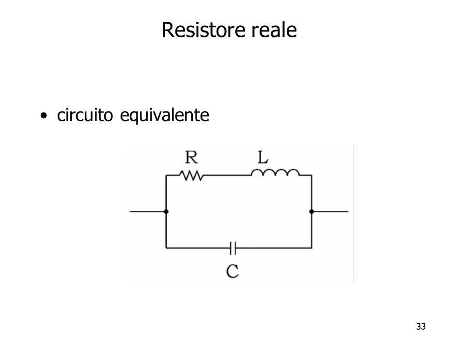 Resistore reale circuito equivalente